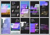 Creative social networks stories design, vertical banner or flyer templates with violet colorful gradient geometric background. Covers design templates for flyer, leaflet, brochure, presentation