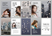 Creative social networks stories design, vertical banner or flyer templates with colorful elements, rectangles, gradient backgrounds. Covers design templates for flyer, leaflet, brochure, presentation