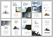 Creative social networks stories design, vertical banner or flyer template. Covers design templates for flyer, brochure. Background for tourist camp, nature tourism, camping. Aadventure design concept