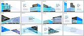 Presentations design, portfolio vector templates with architecture design. Abstract modern architectural background. Multipurpose template for presentation slide, flyer leaflet, brochure cover, report