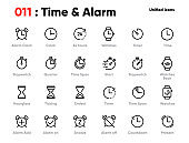 Set of Time and Clock Line Unified Icons. Includes Alarm, Timer, Stopwatch, Hourglass and other. Editable Stroke.
