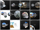 Minimal brochure templates with gray color circles, round shapes. Covers design templates for square flyer, leaflet, education brochure, report, presentation, advertising, magazine, school project.