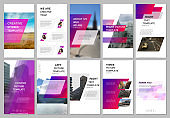 Creative social networks stories design, vertical banner or flyer templates with pink colored colorful gradient geometric background. Covers design templates for flyer, leaflet, brochure, presentation