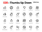 Set of Thumb Up and Down Line Unified Icons. Includes Hand Snap, Love and other. Editable Stroke.