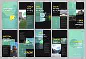 Creative social networks stories design, vertical banner or flyer templates with green colorful gradient backgrounds. Covers design templates for flyer, leaflet, brochure, presentation, advertising.