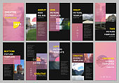 Creative social networks stories design, vertical banner or flyer templates with colorful pink gradient backgrounds. Covers design templates for flyer, leaflet, brochure, presentation, advertising.