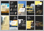 Creative social networks stories design, vertical banner or flyer templates with yellow colorful gradient geometric background. Covers design templates for flyer, leaflet, brochure, presentation