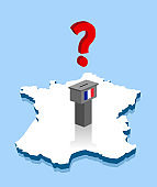 French election results with question mark and voting ballot over France map