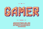 Vector gamer font 3d bold style