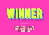 Vector winner font 3d bold