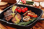 Sliced Beef Steak Sirloin Pouring Mustard Sauce