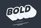 Vector bold typeface slanted style