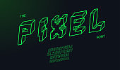 vector pixel 3d bold font modern typography neon line style