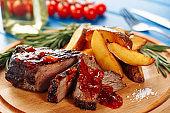 Roasted Steak Pork Meat Sliced with Potato Ketchup