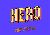 Hero alphabet 3d bold trendy typography