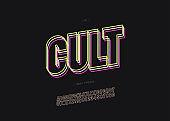 Vector cult alphabet bold line style