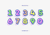 Set of numbers color 3d bold style