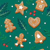 Gingerbread cookie pattern. Festive background with leaves and berries. Vector illustration in flat style