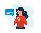 Woman with smartphone. Concept illustration, texting, messaging, chatting, social media, customer assistance, meeting via internet, communication. Bright colorful vector illustration.