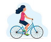 Woman riding a bicycle, concept illustration for healthy lifestyle, sport, cycling, outdoor activities. Vector illustration in flat style