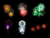 Collection of festive fireworks on black background