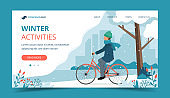 Man riding bike in the park in winter. Landing page template. Cute vector illustration in flat style.