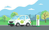 Electric car charging its battery with natural landscape, concept illustration for green environment, ecology, sustainability, clean air, future. Vector illustration in flat style.