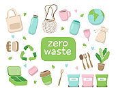 Zero waste concept illustration with different elements. Sustainable lifestyle, ecological concept.