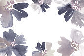 Watercolor floral frame in bluish gray and creamy brown.