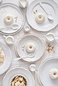 White monochrome serving panna cotta