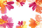 Watercolor floral frame in bright purplish pink, orange and yellow.