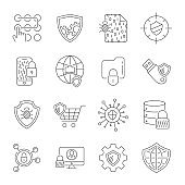 Set icons of cyber protection and Internet security. Technologes of Digital Safety. Vector Line Icons. Editable Stroke. EPS 10