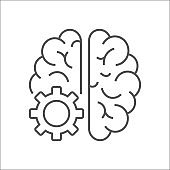 Vector logo icon with brain and gear cog. Abstract outline illustration. AI concept, IoT. Design concept for business solutions, high technology. Editable Stroke. EPS 10
