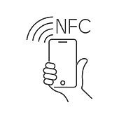 NFC technology payment, vector ounline icon. Hand and Smartphone. Contacless, wireless payment with credit plastic card, smartphone, POS terminal. Mobile pay sign. Editable Stroke. EPS 10