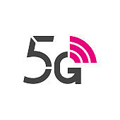 5G vector logo. 5th generation wireless internet network technology. Mobile devices, telecommunication, business, web, networking. EPS 10.