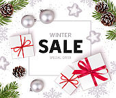 Winter sale design template. Christmas background with new year holiday decorations. Flat lay. Top view.