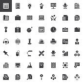 Office and corporate business vector icons set