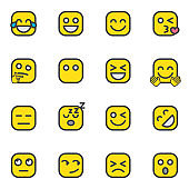 Emoticon collection, Emoji flat icons set