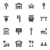 Urban transportation vector icons set