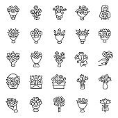 Bouquet of flowers,linear  icon set. Flower bouquets. Making, packaging, delivery, and present of flowers. Editable stroke