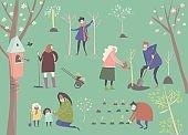 Cute cartoon people are gardening in spring park