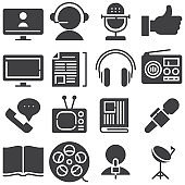 Media communication vector icons set