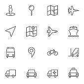 Navigation universal line icons set