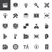 Creative process design vector icons set