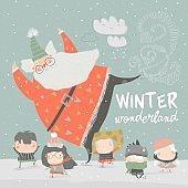 Funny Santa Claus skating with cute kids