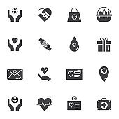 Charity vector icons set