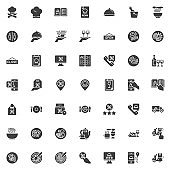 Restaurant food delivery vector icons set