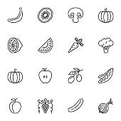 Vegetable and fruit vector icons set