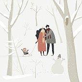 Cartoon happy family walking in winter forest