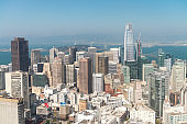 SAN FRANCISCO - AUGUST 7, 2017: San Francisco Skyline as seen from helicopter. The city attracts 20 million people every year